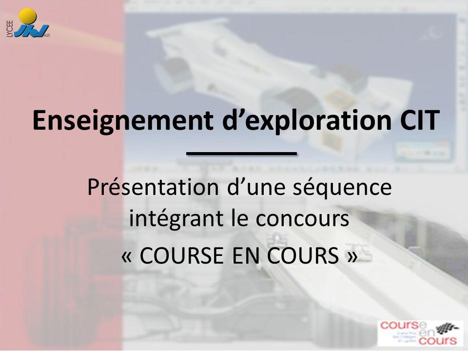 Présentation dune séquence intégrant le concours « COURSE EN COURS » Enseignement dexploration CIT