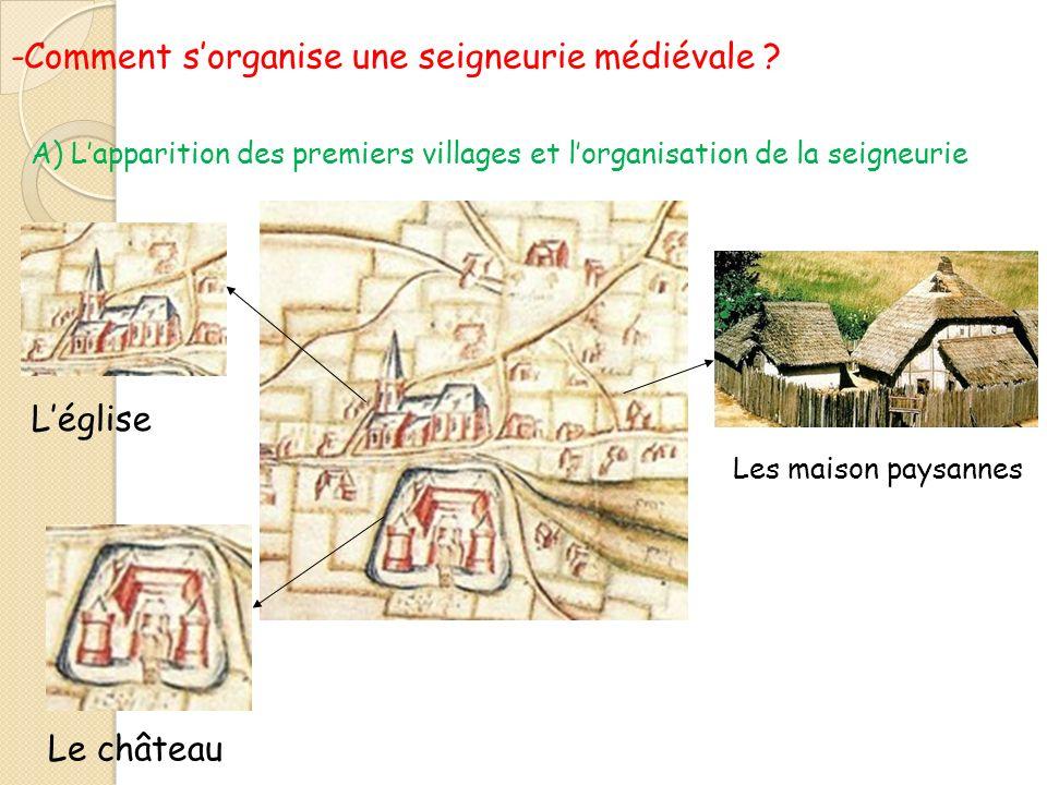 -Comment sorganise une seigneurie médiévale ? Léglise Le château Les maison paysannes A) Lapparition des premiers villages et lorganisation de la seig