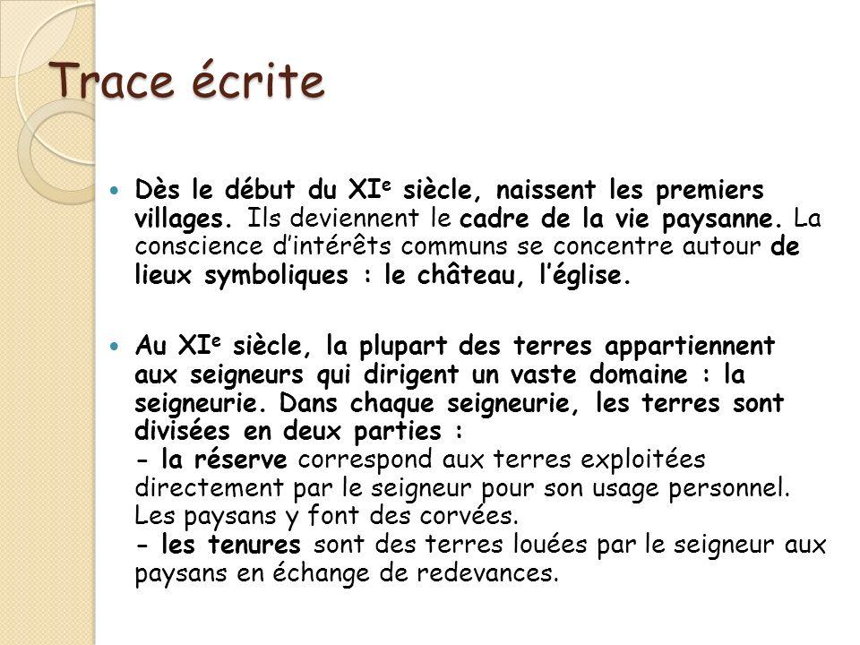 Trace écrite Dès le début du XI e siècle, naissent les premiers villages. Ils deviennent le cadre de la vie paysanne. La conscience dintérêts communs