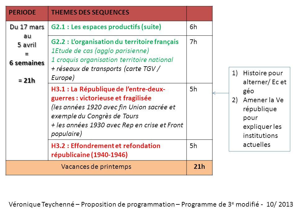 Véronique Teychenné – Proposition de programmation – Programme de 3 e modifié - 10/ 2013 PERIODETHEMES DES SEQUENCES Du 17 mars au au 5 avril = 6 sema