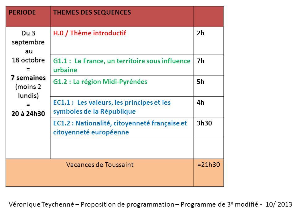 PERIODETHEMES DES SEQUENCES Du 3 septembre au au 18 octobre = 7 semaines (moins 2 lundis) = 20 à 24h30 H.0 / Thème introductif2h G1.1 : La France, un