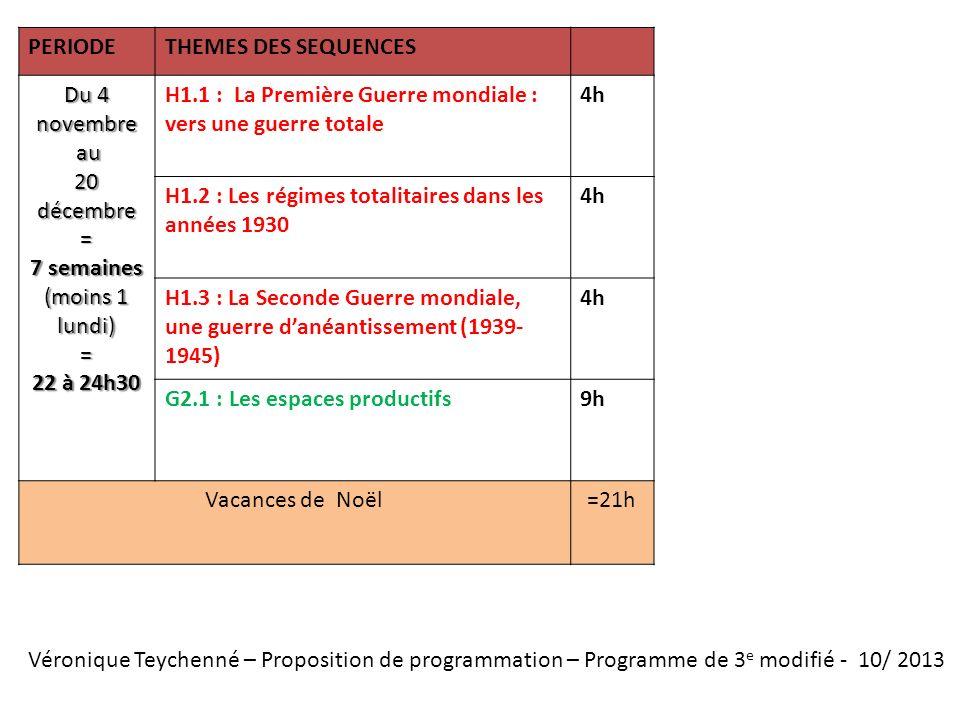 Véronique Teychenné – Proposition de programmation – Programme de 3 e modifié - 10/ 2013 PERIODETHEMES DES SEQUENCES Du 4 novembre au au 20 décembre =