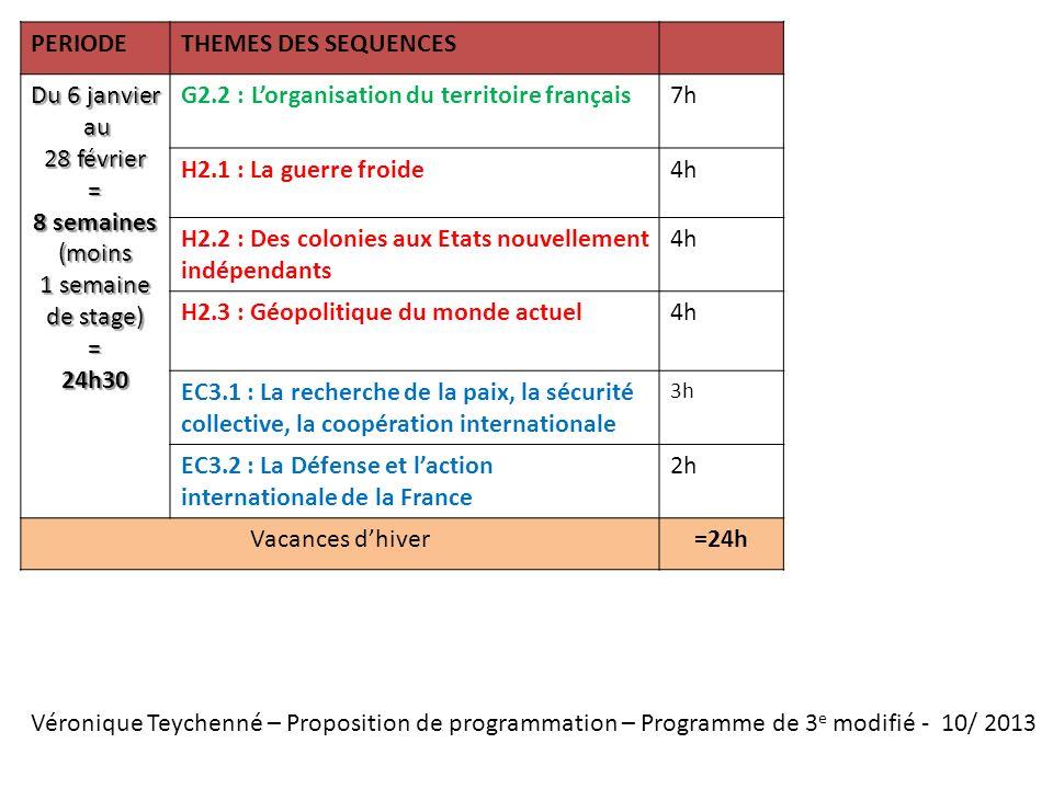 Véronique Teychenné – Proposition de programmation – Programme de 3 e modifié - 10/ 2013 PERIODETHEMES DES SEQUENCES Du 6 janvier au au 28 février = 8