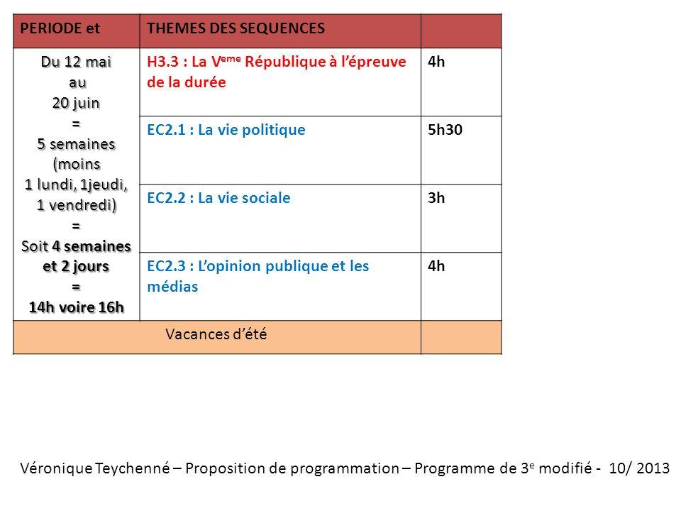 Véronique Teychenné – Proposition de programmation – Programme de 3 e modifié - 10/ 2013 PERIODE etTHEMES DES SEQUENCES Du 12 mai au au 20 juin = 5 se