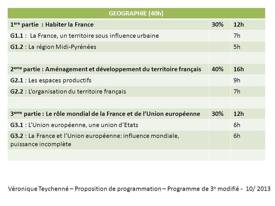 Véronique Teychenné – Proposition de programmation – Programme de 3 e modifié - 10/ 2013 EDUCATION CIVIQUE (25h) 1 ere partie : La république et la citoyenneté30%7h30 EC1.1 : Les valeurs, les principes et les symboles de la République4h EC1.2 : Nationalité, citoyenneté française et citoyenneté européenne3h30 2 eme partie : La vie démocratique50%12h30 EC2.1 : La vie politique5h30 EC2.2 : La vie sociale3h EC2.3 : Lopinion publique et les médias4h 3 eme partie : La défense et la paix20%5h EC3.1 : La recherche de la paix, la sécurité collective, la coopération internationale 3h EC3.2 : La Défense et laction internationale de la France2h