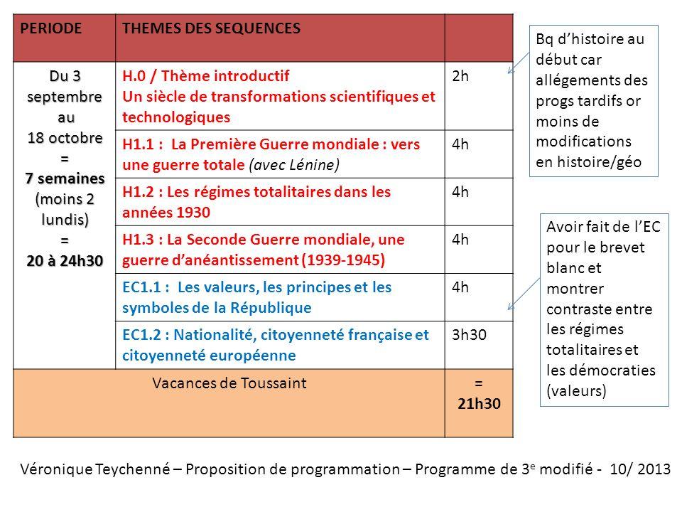 Véronique Teychenné – Proposition de programmation – Programme de 3 e modifié - 10/ 2013 PERIODETHEMES DES SEQUENCES Du 3 septembre au au 18 octobre =