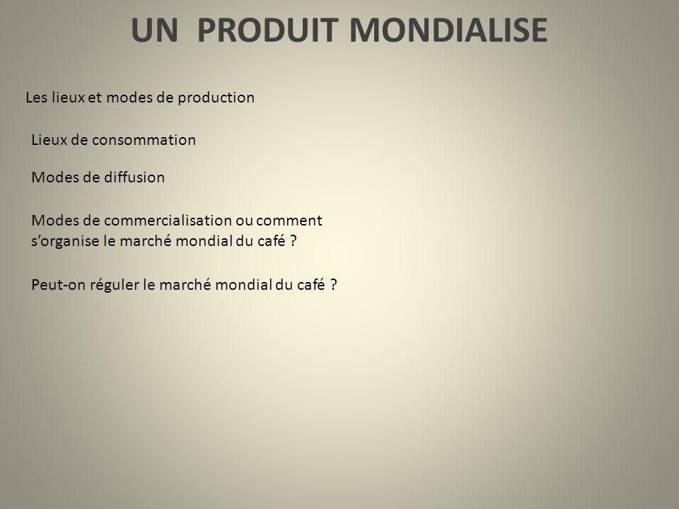 UN PRODUIT MONDIALISE Les lieux et modes de production Lieux de consommation Modes de diffusion Modes de commercialisation ou comment sorganise le mar