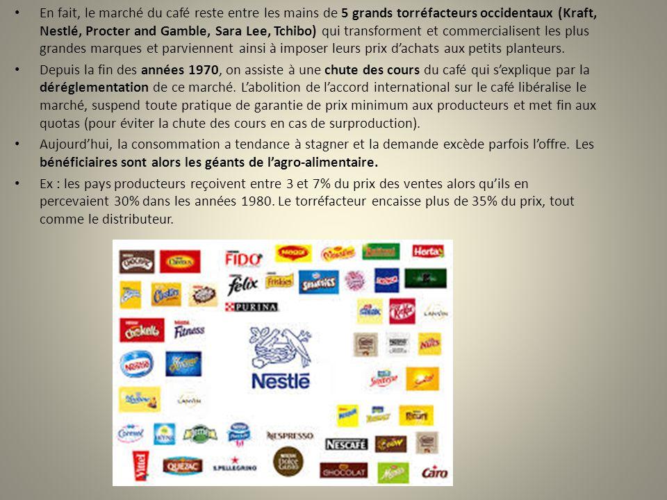 En fait, le marché du café reste entre les mains de 5 grands torréfacteurs occidentaux (Kraft, Nestlé, Procter and Gamble, Sara Lee, Tchibo) qui trans