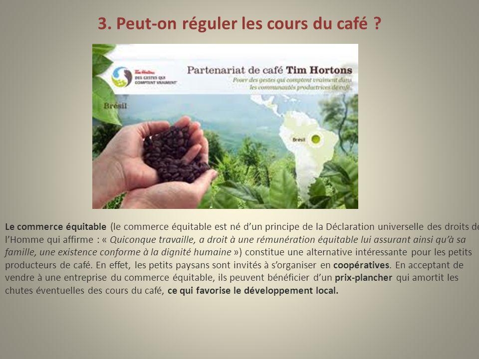 3. Peut-on réguler les cours du café ? Le commerce équitable (le commerce équitable est né dun principe de la Déclaration universelle des droits de lH
