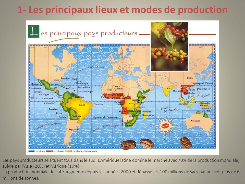 1- Les principaux lieux et modes de production Les pays producteurs se situent tous dans le sud. LAmérique latine domine le marché avec 70% de la prod