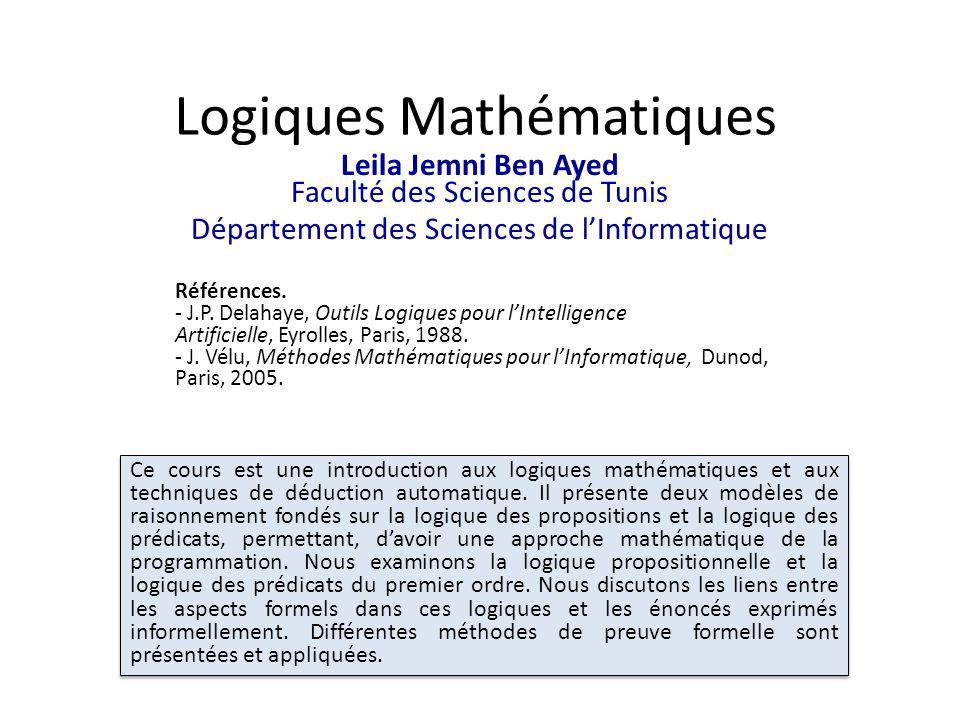 Logiques Mathématiques Leila Jemni Ben Ayed Faculté des Sciences de Tunis Département des Sciences de lInformatique Ce cours est une introduction aux logiques mathématiques et aux techniques de déduction automatique.