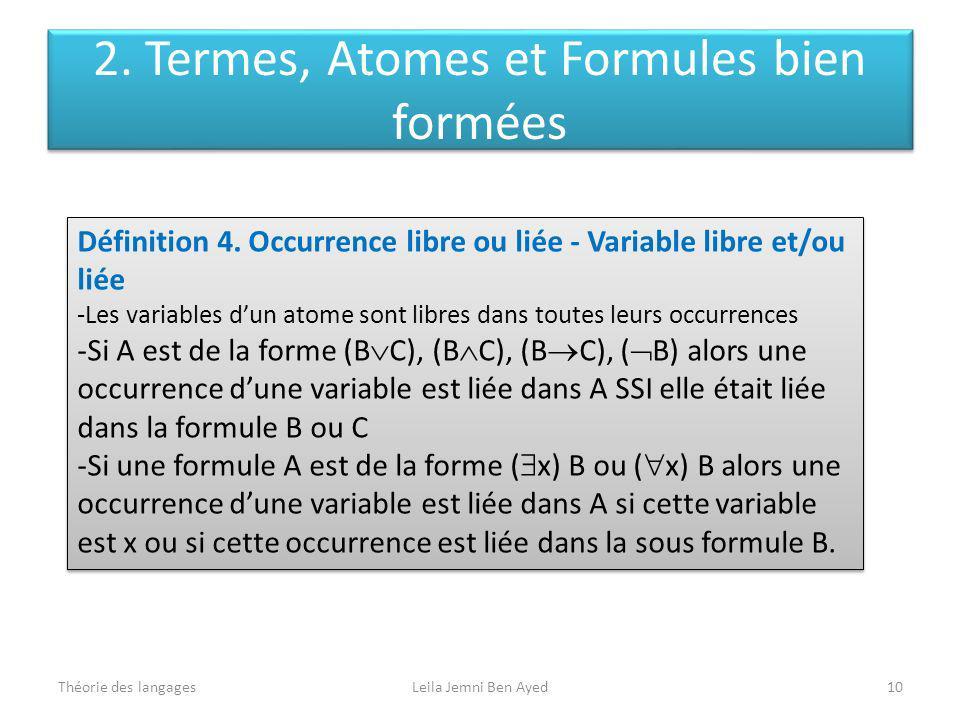 Théorie des langagesLeila Jemni Ben Ayed10 Définition 4. Occurrence libre ou liée - Variable libre et/ou liée -Les variables dun atome sont libres dan