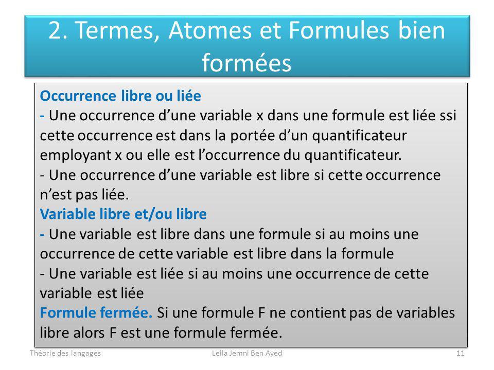 Théorie des langagesLeila Jemni Ben Ayed11 Occurrence libre ou liée - Une occurrence dune variable x dans une formule est liée ssi cette occurrence es
