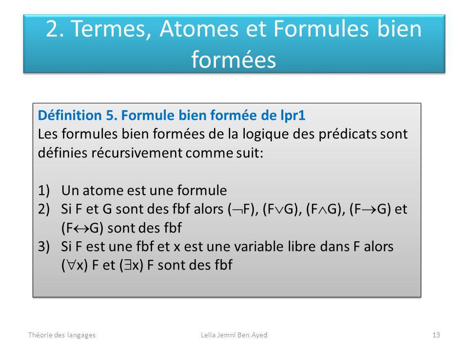 Théorie des langagesLeila Jemni Ben Ayed13 Définition 5. Formule bien formée de lpr1 Les formules bien formées de la logique des prédicats sont défini