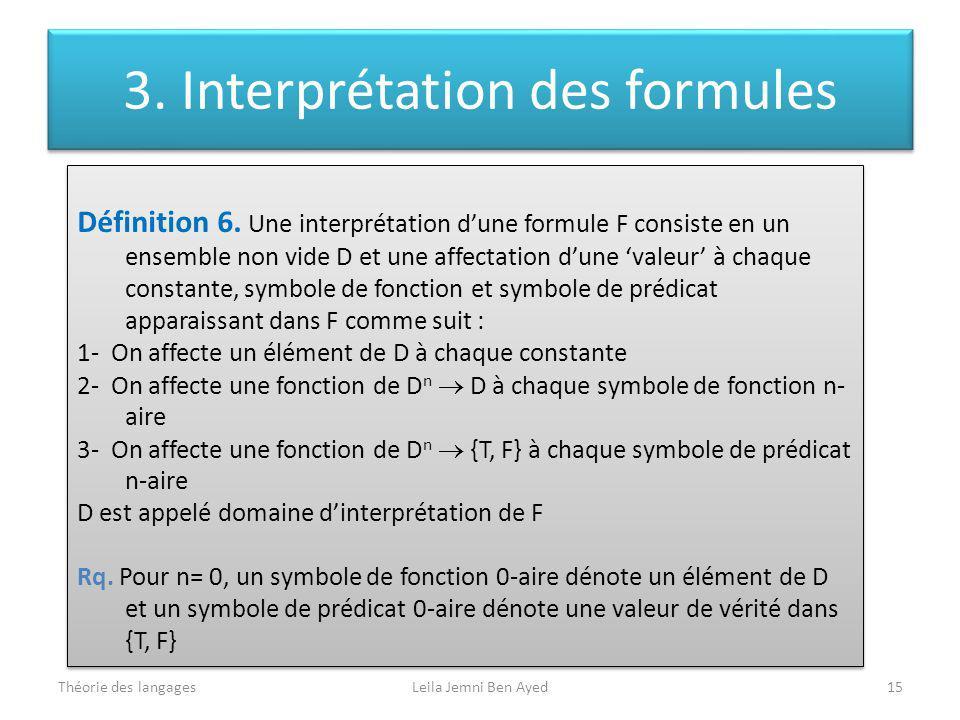 Théorie des langagesLeila Jemni Ben Ayed15 Définition 6. Une interprétation dune formule F consiste en un ensemble non vide D et une affectation dune