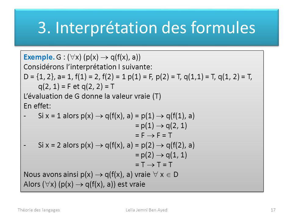 Théorie des langagesLeila Jemni Ben Ayed17 Exemple. G : ( x) (p(x) q(f(x), a)) Considérons linterprétation I suivante: D = {1, 2}, a= 1, f(1) = 2, f(2