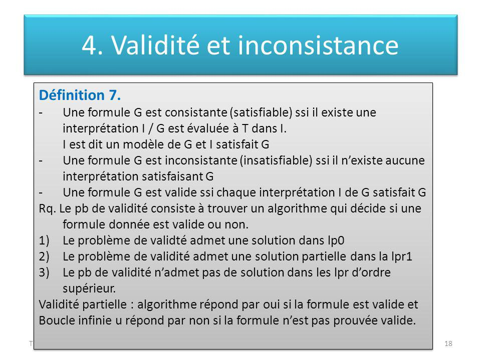 Théorie des langagesLeila Jemni Ben Ayed18 Définition 7. -Une formule G est consistante (satisfiable) ssi il existe une interprétation I / G est évalu