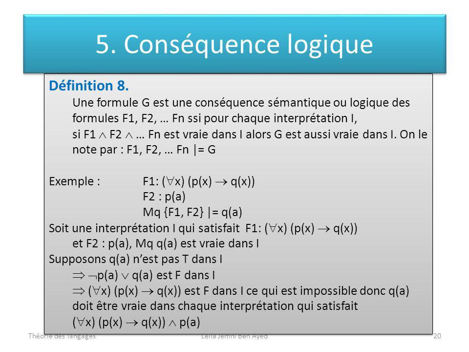 Théorie des langagesLeila Jemni Ben Ayed20 Définition 8. Une formule G est une conséquence sémantique ou logique des formules F1, F2, … Fn ssi pour ch