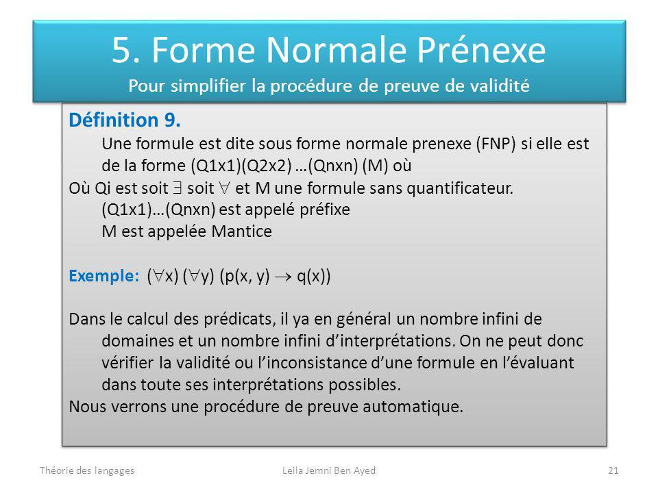 Théorie des langagesLeila Jemni Ben Ayed21 Définition 9. Une formule est dite sous forme normale prenexe (FNP) si elle est de la forme (Q1x1)(Q2x2) …(