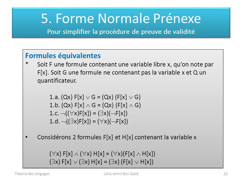 Théorie des langagesLeila Jemni Ben Ayed22 Formules équivalentes * Soit F une formule contenant une variable libre x, quon note par F[x]. Soit G une f