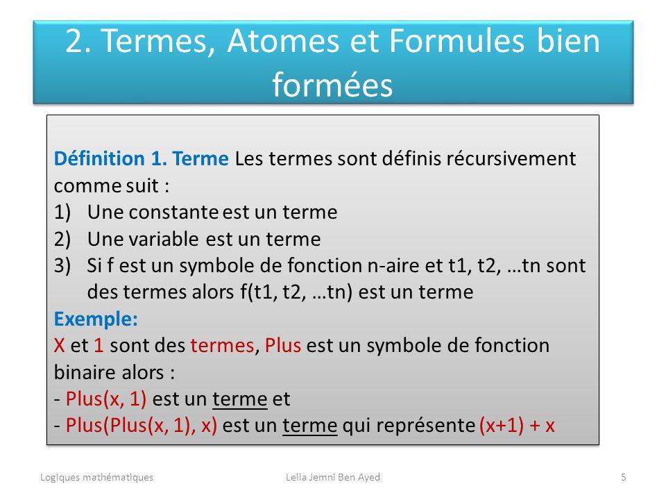 2. Termes, Atomes et Formules bien formées Logiques mathématiquesLeila Jemni Ben Ayed5 Définition 1. Terme Les termes sont définis récursivement comme
