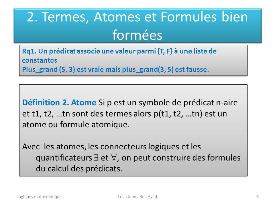 Logiques mathématiquesLeila Jemni Ben Ayed6 Définition 2. Atome Si p est un symbole de prédicat n-aire et t1, t2, …tn sont des termes alors p(t1, t2,
