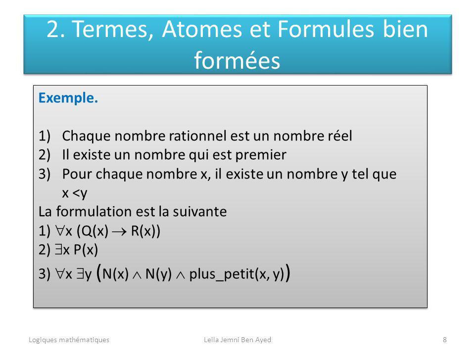 Logiques mathématiquesLeila Jemni Ben Ayed8 Exemple. 1)Chaque nombre rationnel est un nombre réel 2)Il existe un nombre qui est premier 3)Pour chaque