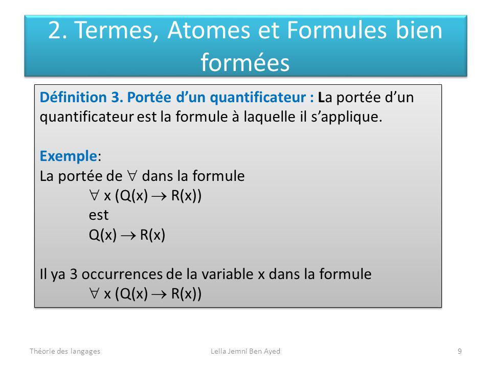 Théorie des langagesLeila Jemni Ben Ayed9 Définition 3. Portée dun quantificateur : La portée dun quantificateur est la formule à laquelle il sappliqu