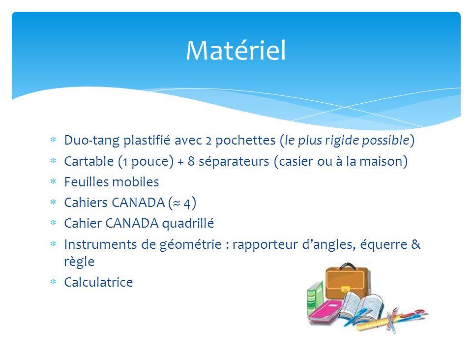 Duo-tang plastifié avec 2 pochettes (le plus rigide possible) Cartable (1 pouce) + 8 séparateurs (casier ou à la maison) Feuilles mobiles Cahiers CANA
