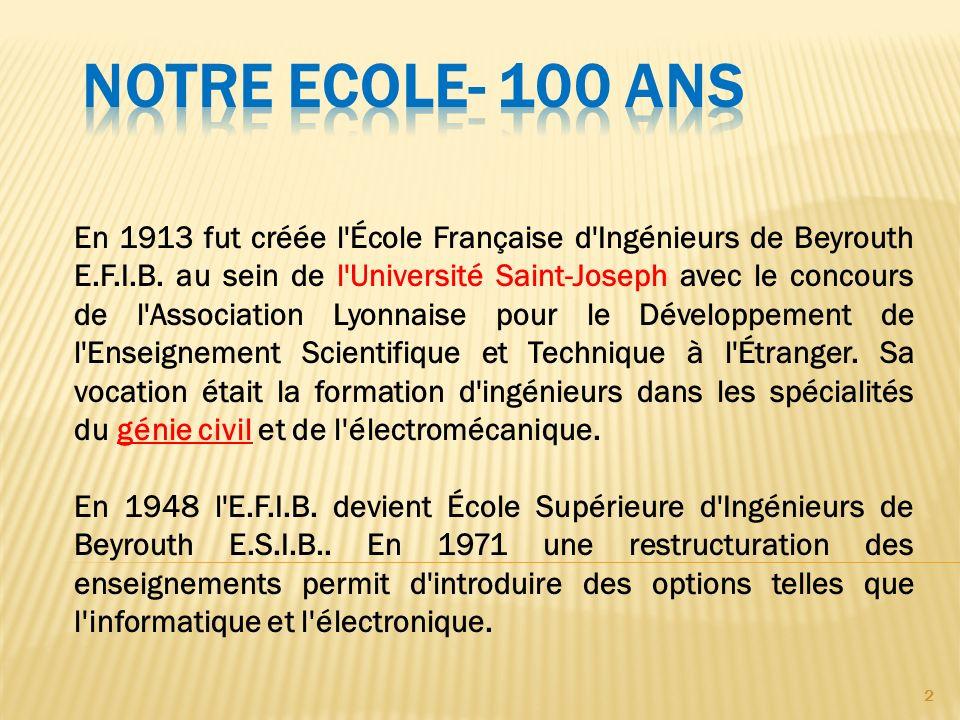 2 En 1913 fut créée l'École Française d'Ingénieurs de Beyrouth E.F.I.B. au sein de l'Université Saint-Joseph avec le concours de l'Association Lyonnai