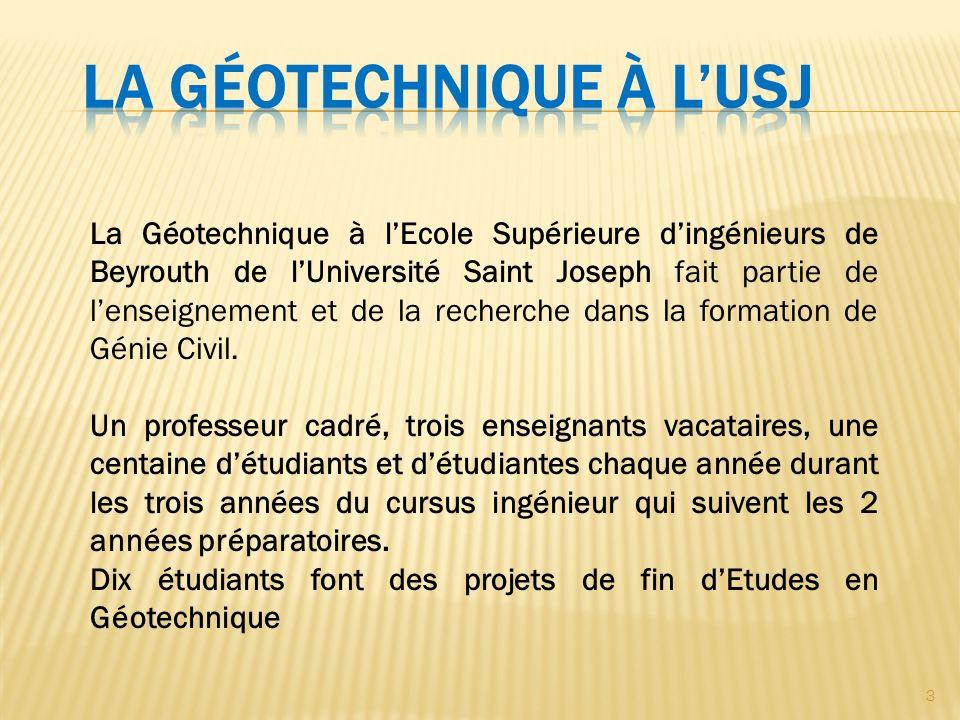 3 La Géotechnique à lEcole Supérieure dingénieurs de Beyrouth de lUniversité Saint Joseph fait partie de lenseignement et de la recherche dans la formation de Génie Civil.