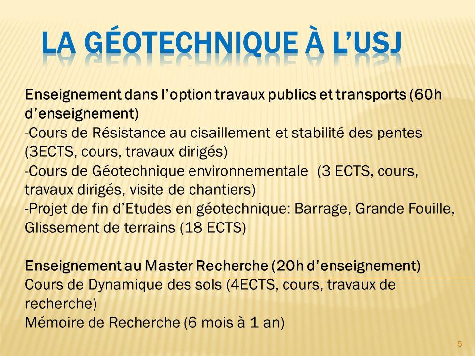 5 Enseignement dans loption travaux publics et transports (60h denseignement) -Cours de Résistance au cisaillement et stabilité des pentes (3ECTS, cou