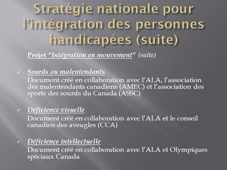 Projet Intégration en mouvement (suite) Sourds ou malentendants Document créé en collaboration avec lALA, lassociation des malentendants canadiens (AM
