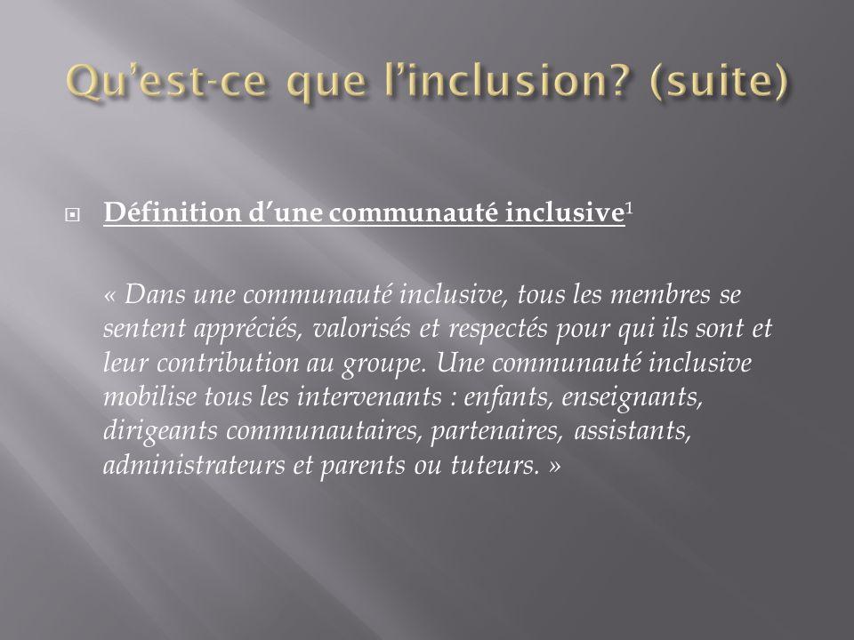 Définition dune communauté inclusive ¹ « Dans une communauté inclusive, tous les membres se sentent appréciés, valorisés et respectés pour qui ils son