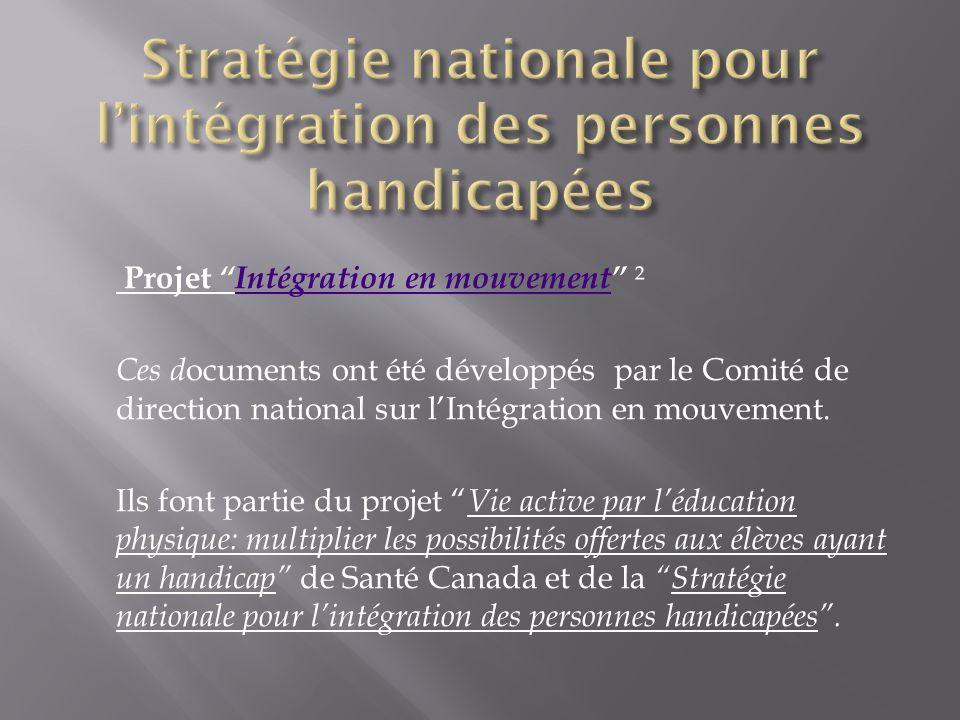 ProjetIntégration en mouvement ²Intégration en mouvement Ces d ocuments ont été développés par le Comité de direction national sur lIntégration en mou