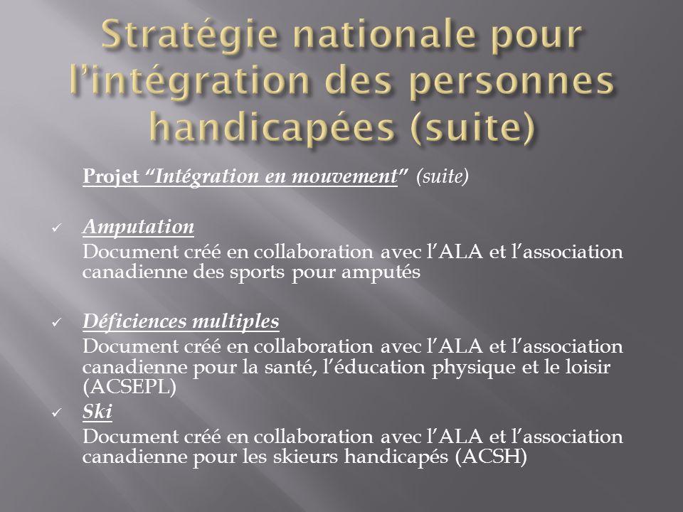 Projet Intégration en mouvement (suite) Amputation Document créé en collaboration avec lALA et lassociation canadienne des sports pour amputés Déficie