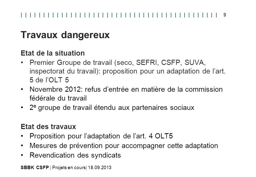 SBBK CSFP | Projets en cours| 18.09.2013 10 Travaux dangereux Prochaines étapes Discussion dans la CFFP(12.09.2013) Discussion dans la Commission fédérale du travail
