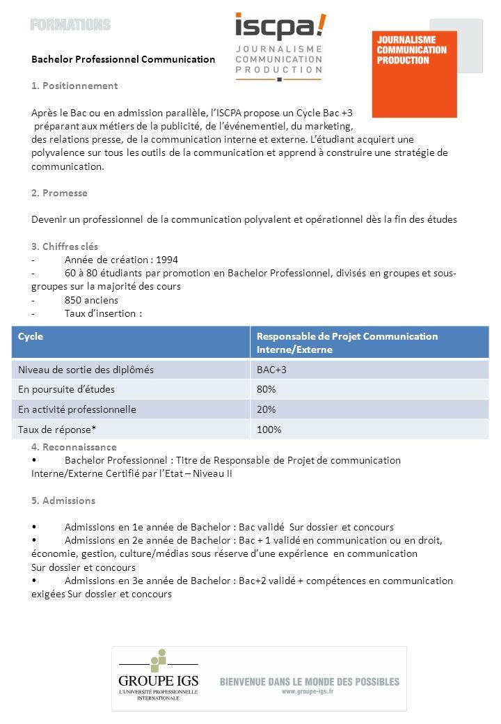 6.Programmes Bachelor Professionnel : Cursus de 3 ans après Bac.