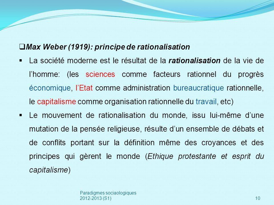 10 Max Weber (1919): principe de rationalisation La société moderne est le résultat de la rationalisation de la vie de lhomme: (les sciences comme fac