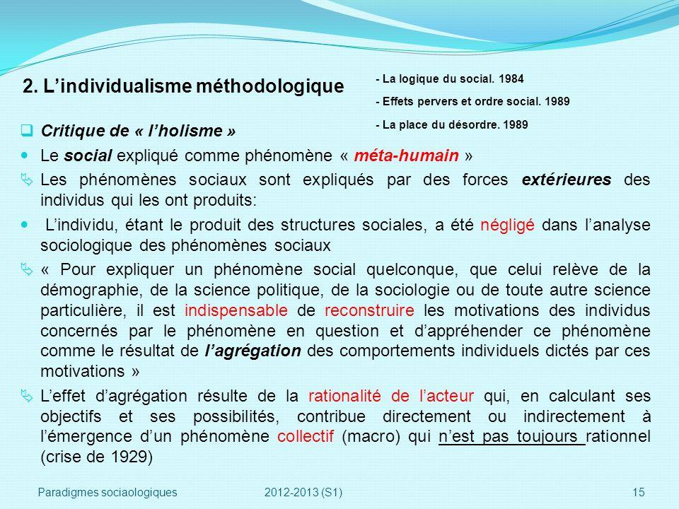 2. Lindividualisme méthodologique Critique de « lholisme » Le social expliqué comme phénomène « méta-humain » Les phénomènes sociaux sont expliqués pa