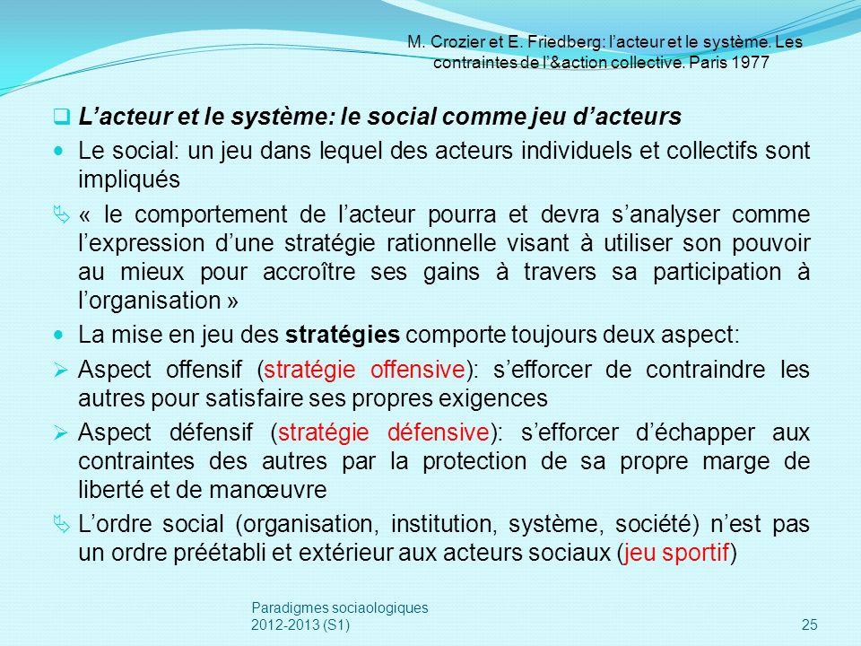 Lacteur et le système: le social comme jeu dacteurs Le social: un jeu dans lequel des acteurs individuels et collectifs sont impliqués « le comporteme
