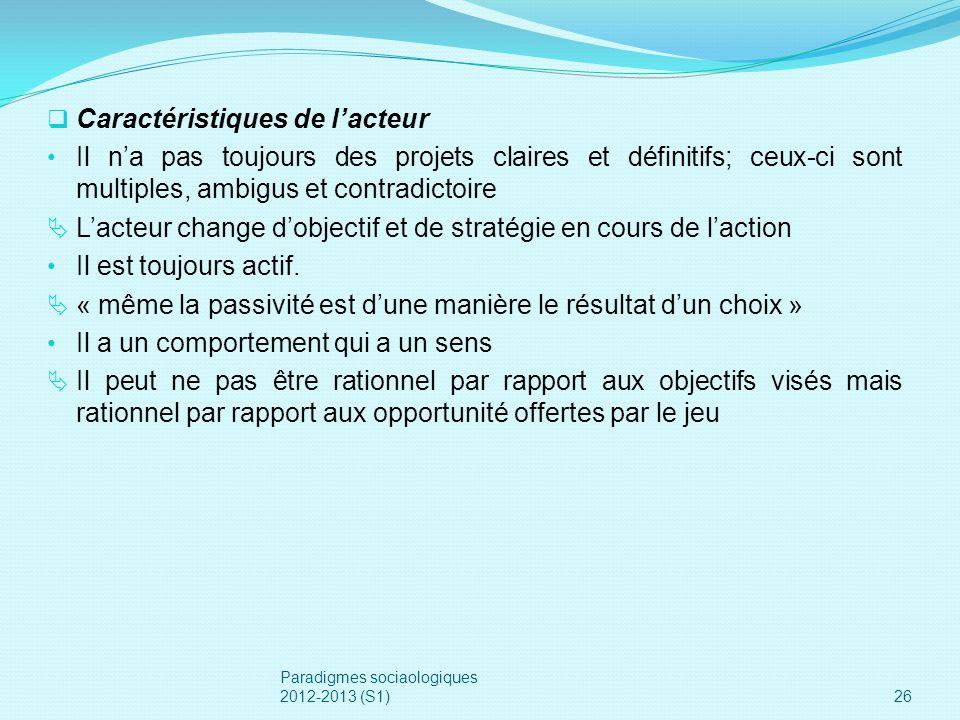 Caractéristiques de lacteur Il na pas toujours des projets claires et définitifs; ceux-ci sont multiples, ambigus et contradictoire Lacteur change dob
