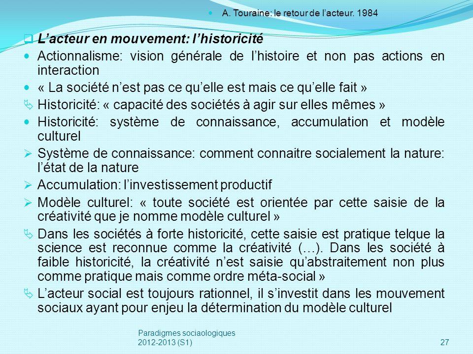 Lacteur en mouvement: lhistoricité Actionnalisme: vision générale de lhistoire et non pas actions en interaction « La société nest pas ce quelle est m