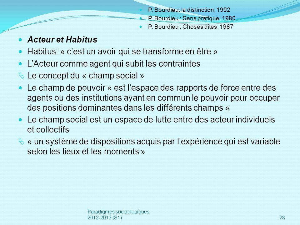 Acteur et Habitus Habitus: « cest un avoir qui se transforme en être » LActeur comme agent qui subit les contraintes Le concept du « champ social » Le