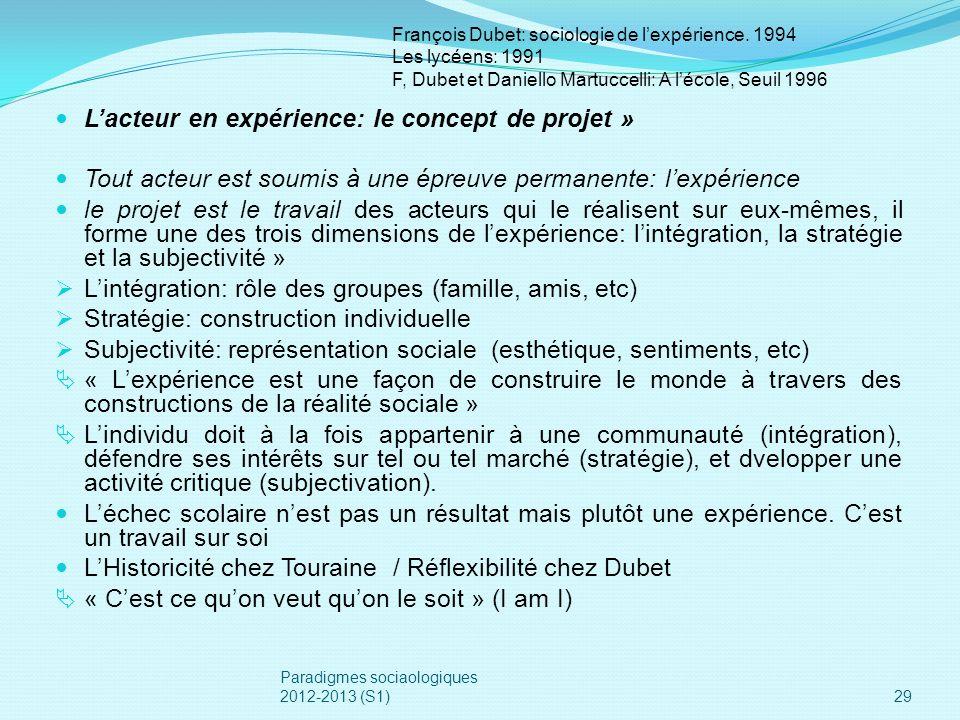 Lacteur en expérience: le concept de projet » Tout acteur est soumis à une épreuve permanente: lexpérience le projet est le travail des acteurs qui le