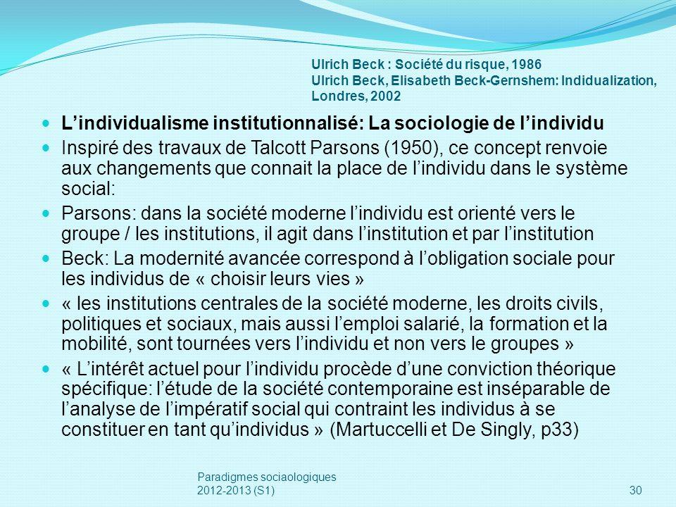 Ulrich Beck : Société du risque, 1986 Ulrich Beck, Elisabeth Beck-Gernshem: Indidualization, Londres, 2002 Lindividualisme institutionnalisé: La socio