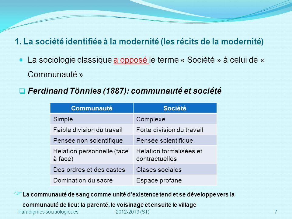 1. La société identifiée à la modernité (les récits de la modernité) La sociologie classique a opposé le terme « Société » à celui de « Communauté » F