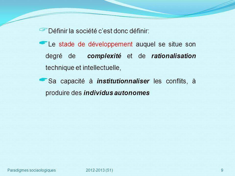 Définir la société cest donc définir: Le stade de développement auquel se situe son degré de complexité et de rationalisation technique et intellectue
