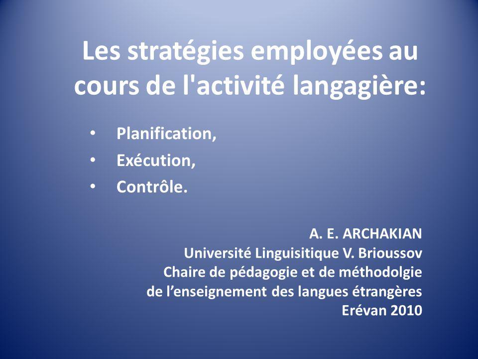 Les stratégies employées au cours de l activité langagière: Planification, Exécution, Contrôle.