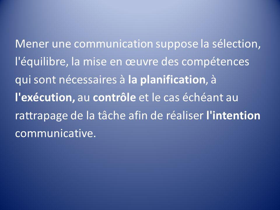 Mener une communication suppose la sélection, l équilibre, la mise en œuvre des compétences qui sont nécessaires à la planification, à l exécution, au contrôle et le cas échéant au rattrapage de la tâche afin de réaliser l intention communicative.